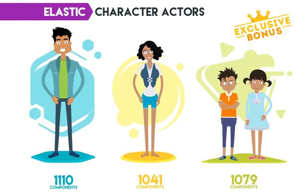 卡通角色动画生成器解释工具视频工具包宣传促销图形动画包装V2.0-AE模板下载